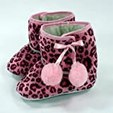 Baby Boots with Pom Poms (9-12 mths, Pink Leopard)