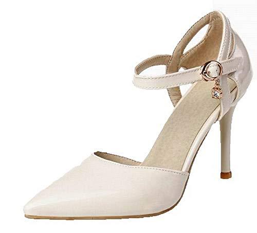 Women Pu Beige High Buckle Solid Heels Toe CCALP015386 Pointed Sandals VogueZone009 HfTwqH