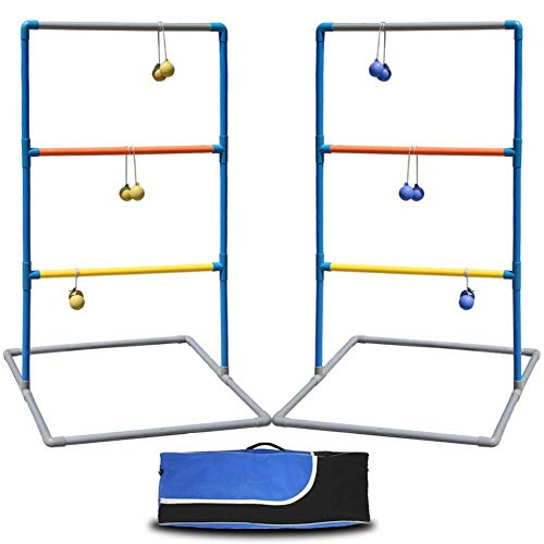 Juegoal Ladder Toss Ball Game Set Yard Games with 6 Bolas, for Kids Adults Backyard Birthday Party -