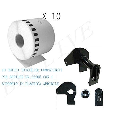 10 Rotoli Etichette adesive compatibile per Brother DK22205 DK-22205 30.48mt X 62mm QL-500 QL-1050 QL-550 QL-1060N CON TELAIO//SUPPORTO QL-650TD QL-560 QL-570 QL-580N