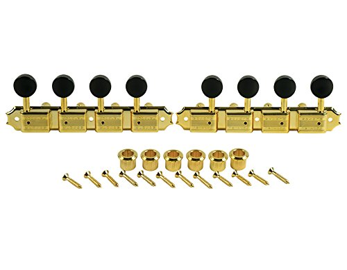 Kluson Supreme A-Style Mandolin Tuners, Gold with Black Buttons