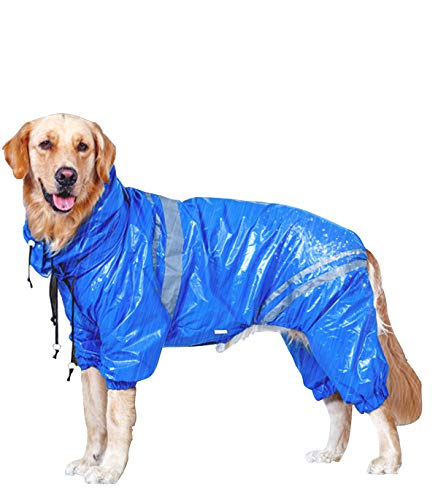 ALXDR Pet Raincoat Puppy Rainwear Waterproof Rain Cloth with Removable Hat Hoodies Cat Jacket,5XL