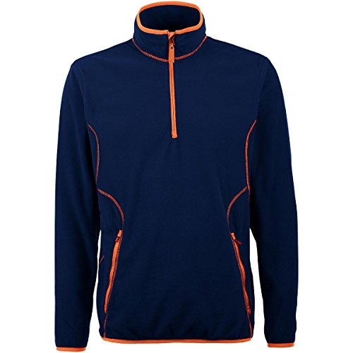Antigua MEN'S ICE MICRO FLEECE 1/4-ZIP PULLOVER NAVY/MANGO (Antigua Fleece)