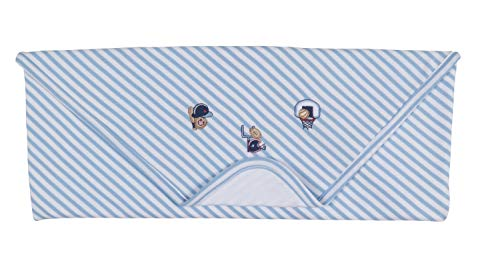 Kissy Kissy Baby-Boys Infant Fall Sports Stripe Receiving Blanket-Blue and White-One Size