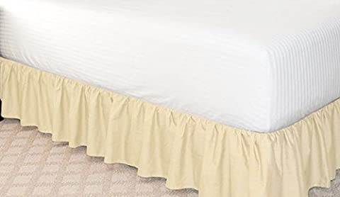 GorgeousHomeLinenDifferent Colors & Sizes Solid Bed Bedding Skirt Soft 100% Soft Smooth Microfiber Pleated-Only on 4 Corners (Queen, Ivory Beige)
