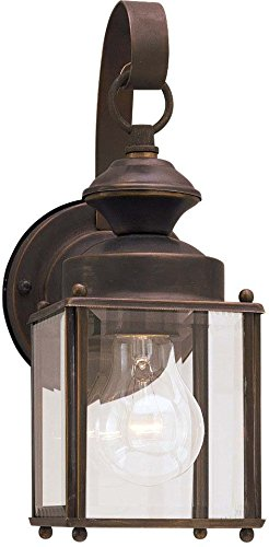 Bronze Finished Wall Lantern (Sea Gull Lighting 8456-71 Single-Light Jamestowne Outdoor Wall Lantern with Clear Beveled Glass, Antique)