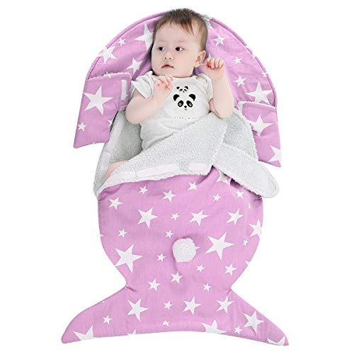 Newborn Baby Swaddle Blanket, Baby Kids Toddler Infant Thick Soft Warm Fleece Blanket Swaddle Sleeping Bag Sleep Sack Stroller Wrap with Cute Rabbit Ear for Baby Boys Girls - Baby Shower Gifts (Pink)