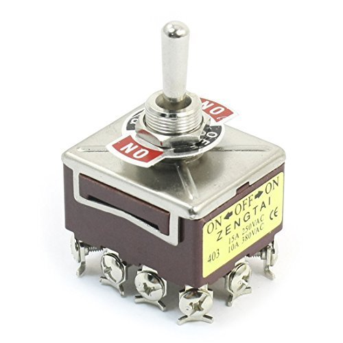 AC 380V 10A ON / OFF / ON 3 Positionen 12 Pin verriegelnd Kippschalter 4PDT, Modell: