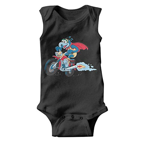 Baby Girls Infant Sleeveless Black Muppet-Gonzo-Beaker-Animal-Motor-Vehicle-Stylish Organic Cotton Onesies