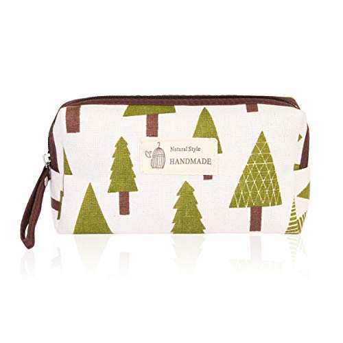 Portable Travel Clutch Cosmetic Makeup Pouch - Toiletry Organizer Purse, Striped Wristlet Floral, Plaid Print Bag (Rectangle Pouch - Pine Tree)