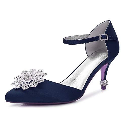 a donna Basic scintillanti Pump Wedding Tacco Zxstz Tacco punta spillo amp; a Shoes blu Evening navy Strass Scarpe Glitter da Party qtgwwPE