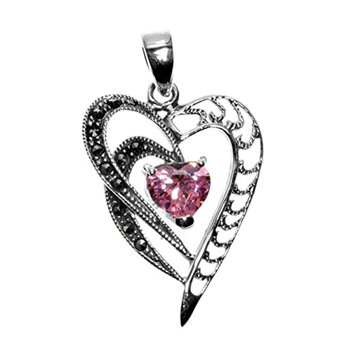 Heart Pendant Pink Simulated CZ Simulated Marcasite .925 Sterling Silver Charm - Silver Jewelry Accessories Key Chain Bracelet Necklace Pendants