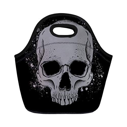 Semtomn Neoprene Lunch Tote Bag Abstract Portrait of Skull Flyers Anatomy Black Bone Brain Reusable Cooler Bags Insulated Thermal Picnic Handbag for Travel,School,Outdoors,Work ()