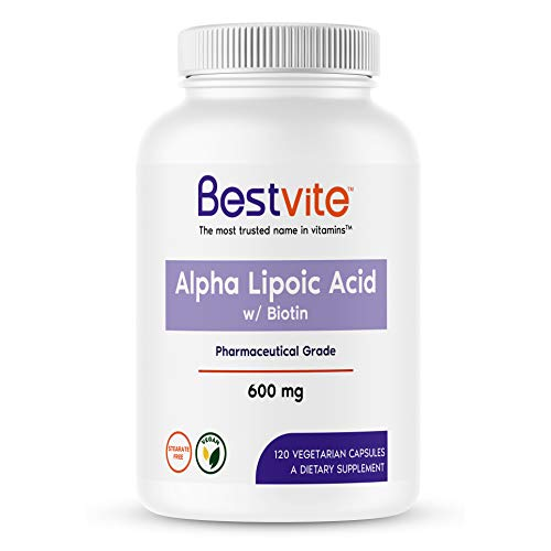 Alpha Lipoic Acid 600mg (per Capsule) with Biotin to Enhance Absorption (120 Vegetarian Capsules) No Fillers - No Stearates - No Flow Agents - Gluten Free - Vegan - Non GMO