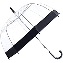Rainbrace Clear Bubble Umbrella Auto Open Upgraded Version With Reinforced Fibergrass Ribs, Transparent Clear Dome Shape for Women And Kids