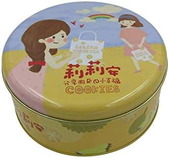 Alimentos empaque hierro caja de galletas galleta de la caja redonda de alto grado de metal caramelo caja: Amazon.es: Hogar