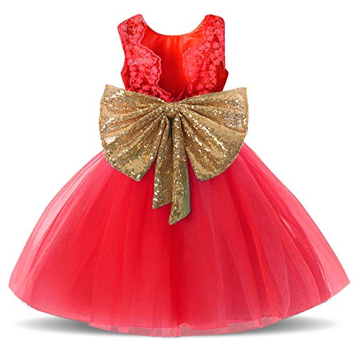Lace Formal Red Sequins Flower Girl Dress for Little Girls Birthday Party Pageant Prom Dresses Beach Clothes Clothing Kids Knee Mid A Line Tulle Blush Size 3 3t Age 3 Red 100 -