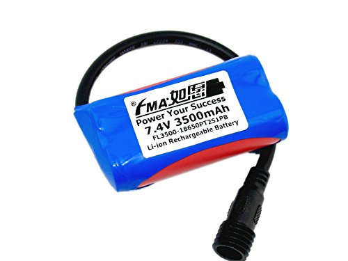 Li-Ion Battery 7.4V 3500Mah By 18650 W/Pcm For Bike Light by Battery Recharger