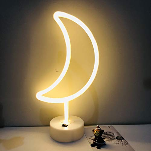 Led Neon Sign Art Decorative Lights Table Decoration neon lamp with Base for Kids boy and Girl Bedroom Unique Gift for Any Occasion (Moon with Base) (Lightning Decor)