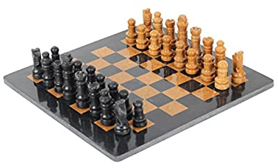 RADICALn Completely Handmade Original Marble 12 Inches Black and Golden Chess Board Game Set Two Players Full Chess Game Table Set