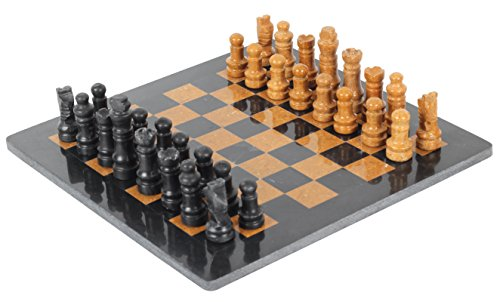 RADICALn Completely Handmade Original Marble 12 Inches Black and Golden Chess Board Game Set Two Players Full Chess Game Table Set ()