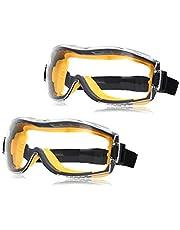 AmazonBasics Safety Goggle, Anti-Fog, Clear Lens and Elastic Headband, 2-Count