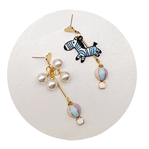- TIDOO Jewelry Korean Style Partysu Stud Earring for Girls Blue Zebra with Lace Bows Hot Air Balloon Ear Stud (B# Hot-air balloon)