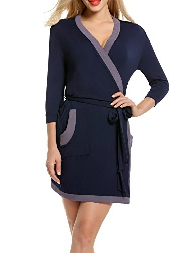 (Hotouch Women's Kimono Robe Knee Length Bridal Lingerie Sleepwear Short Soft Robe Navy Blue XL)