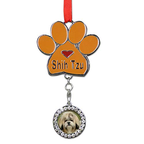 BANBERRY DESIGNS Shih Tzus Christmas Ornament - I Love My Shih Tzus Pawprint with a Photo Charm - Dog Christmas Ornament (Tzu Prints Shih Paw)