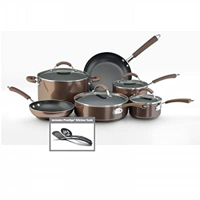 Farberware 10570 12-Piece Set Porcelain Nonstick Cookware, Bronze by Farberware