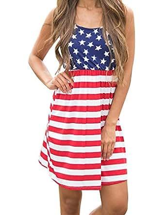 Queensheero Women's Summer Sleeveless Stars and Stripe Print Flag Dress Elastic Waist Loose Mini Tank Dress Blue ,XXL