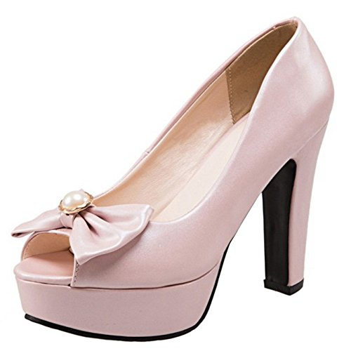 TAOFFEN Women Fashion Peep Toe High Heel Sandals Party Dress Shoes with Bowknot Pink p8azJUBXzQ
