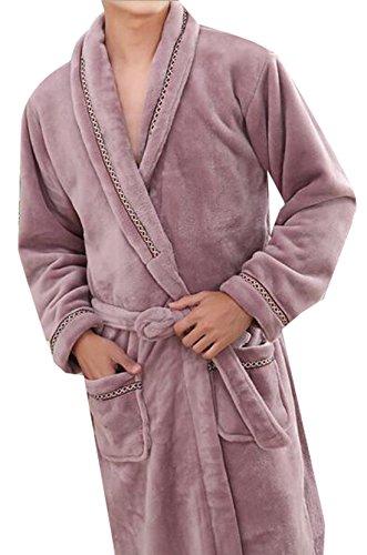 XTT Men's Plush Shawl Collar Kimono Bathrobe Robe Purple L