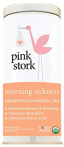 Pregnancy Nausea Relief - Pink Stork Morning Sickness Tea: Ginger-Peach, -USDA Organic Loose Leaf Herbs in Biodegradable Sachets, -Morning Sickness, Nausea, Cramps, Indigestion Relief -30 cups, -Caffeine-Free