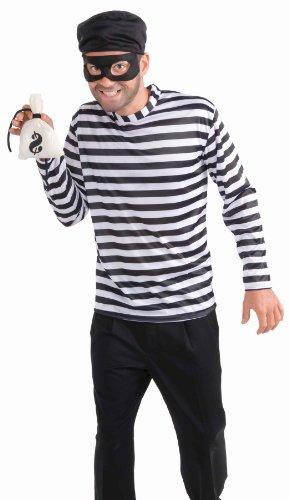 Men's Burglar Costume, White/Black, One Size