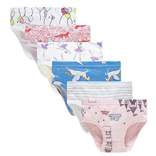 Kids Series Soft Cotton Panties Little Girls' Assorted Underwear (Pack of 6) Size 6 7
