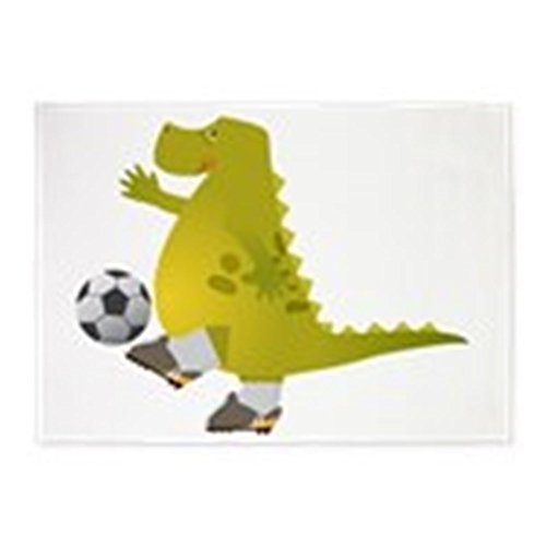 5' x 7' Area Rug Dinosaur Playing Soccer by Truly Teague