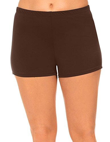 swimsuitsforall Women's Plus Size Boyshort 18 Brown