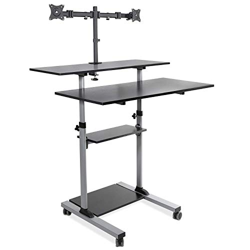 Mount-It! Extra Wide Mobile Standing Desk with Dual Monitor Mount - 40 Inch Wide Height Adjustable Rolling Computer Workstation with Four Wheels (Table Computer For Two)