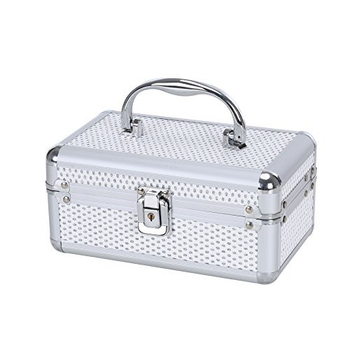 Small Jewelry Box Makeup Storage Case Organizer with Lock and Key – Silver Aluminum Finish – Easy to Transport, Large Storage Area, Protects Jewelry from Scratches – Perfect for On the Go