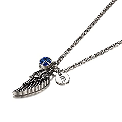 Wing of Angel Cremation Jewelry Initial Necklace Urn Memorial Ashes Holder Keepsake with Birthstone Crystal by AMIST September (Green And Gold Baseball Necklace)