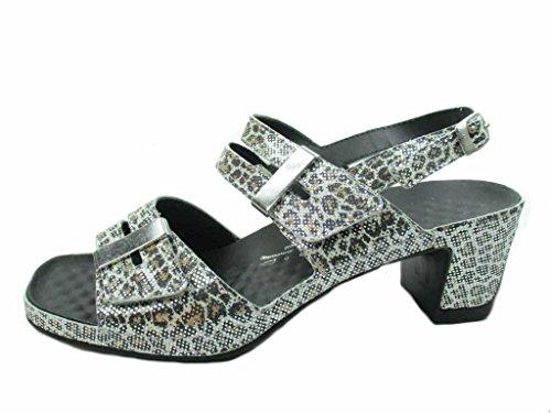 Vital Joy 0506-20504- Damenschuhe Sandalette/Sling, Grau, Leder, Absatzhöhe: 50 MM Metall
