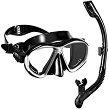 OMORC Snorkel Set, Diving Mask with Anti-Fog Impact Resistant Panoramic Tempered Glass & Dry Top Snorkel, Free Breathing Anti-leak Snorkel Mask with Silicone Mouthpiece for Adults