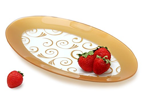 GAC Tempered Glass Oval Platter Serving Tray and Decorative Plate Unbreakable - Chip Resistant - Oven Proof - Microwave Safe - Dishwasher Safe - Stackable (Dishwasher Safe Oval Platter)