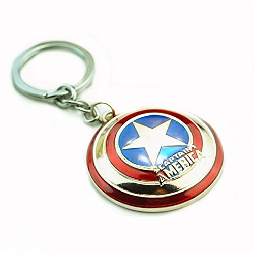 Super Hero the Avengers Captain America Shield Metal Keychain Pendant Key Chains (Silver) (Cardboard Captain America Shield)