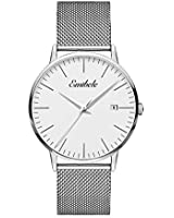 Emibele Mens Quartz Watch, Business Casual Fashion Waterproof 50M Water Resistant Quartz Wristwatch with Metal Mesh Band and Calendar Date Window for Men - Silver Dial + Silver Band