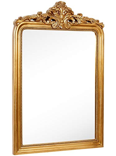 Hamilton Hills Top Gold Baroque Wall Mirror | Rich Old World Feel -