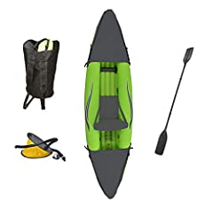 The Outdoor Tuff Stinger 3 Inflatable One-Person Sport Kayak is portable and durable, making it perfect for any water sport enthusiast. Gliding through the water on this kayak is the perfect way to unwind and take in the scenery. At only 25-p...