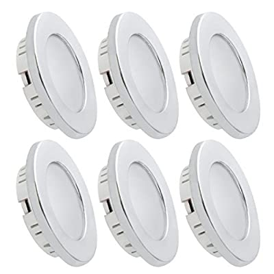 Dream Lighting Under Cabinet LED Lighting 12 Volt 2W Cool White Silver Shell Recessed Downlights for RV Motorhome Camper Trailer Pack of 6: Automotive