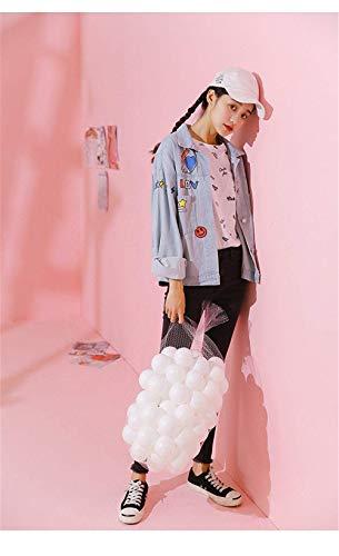 Jeans Autunno Donna Giacche Manica Slim Lunga Casuale Fidanzato Cappotto Graffiti Giaccone Fit Con Primaverile Mode Di Outerwear Vintage Button Fashion Blau Stampato Marca Elegante PqwqdAz